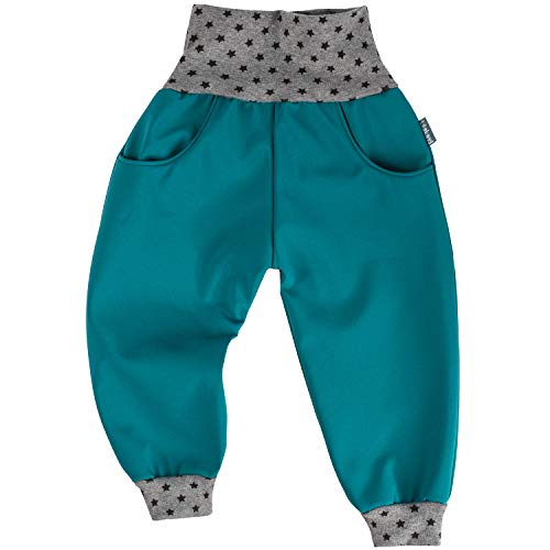 "Lilakind"" Kinder Baby Hose Softshellhose Softshell Regenhose Sterne Petrol Grau Gr. 122/128 - Made in Germany"