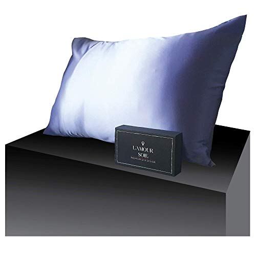 100% Mulberry Silk Pillowcase-Lavender, Perfect for Hair and Skin, Prevent Wrinkles, Kind to Skin, Natural, Hypoallergenic Material, Pampers Your Skin (Queen 20 x 30)