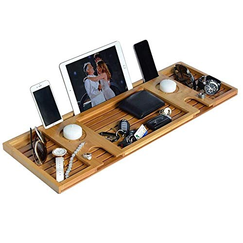 ZLININ Y-longhair Bandeja para bañera con soporte para copas de vino, soporte ajustable, organizador de baño de bambú, laterales antideslizantes extensibles, 2 tablas extraíbles