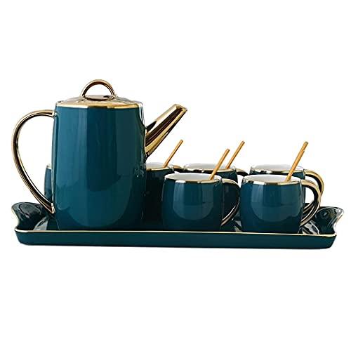 6 Oz Ceramics Filiżanka do herbaty Zestaw do kawy , Porcelanowe filiżanki do espresso z łyżeczkami Czajniczek i taca - Zestaw 4, ciemnozielony do ekspresu do kawy Herbata lub inne różne okazje