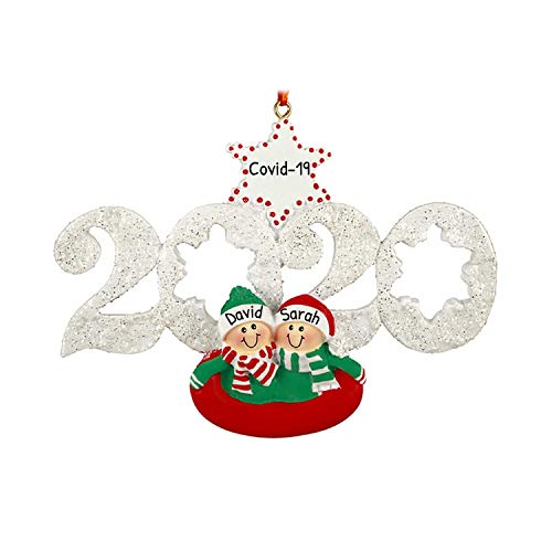 Personalized Sledding Couple 2020 Christmas Tree Ornament - Sibling Friend Tubing Year Glitter Snow Star Dated Tradition Winter Holiday First Memory Gift 1st - Free Customization