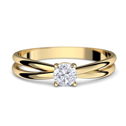 Goldring Verlobungsringe Gold 333 GRATIS LUXUSETUI Goldring 333er Gold Ring echt von AMOONIC mit Zirkonia Stein Goldring Gelbgold wie Verlobungsring Ring Diamantring Solitär FF386GG333ZIFA52