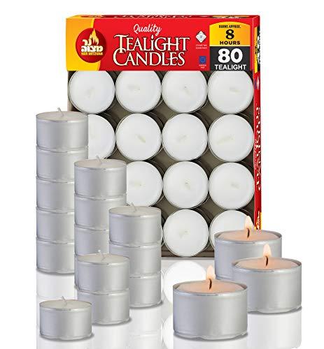 Ner Mitzvah Teelichter 80er Pack – 8 Stunden Brenndauer – Weiß – Unparfümiert – 80 Stück