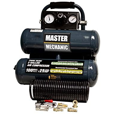 North American Tool Ind. 154850 Master Mechanic, 2 Gallon, Twin Tank, Air Compressor