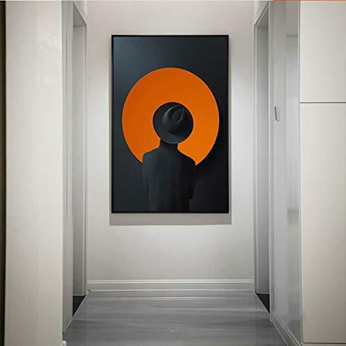 GJQFJBS Abstrakter Mann im Hut Leinwand Malerei Poster Wohnzimmer Wandkunst Home Decoration A1 50x70cm