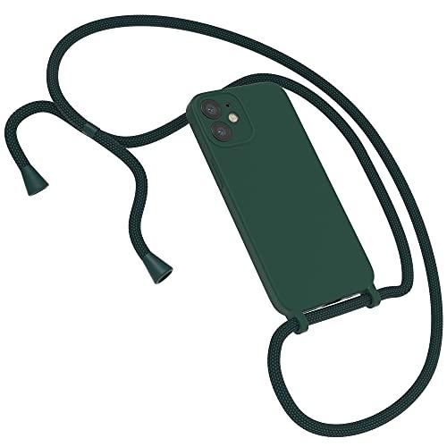 EAZY CASE Premium Silikon Handykette kompatibel mit iPhone 12 Mini Handyhülle mit Umhängeband, Handykordel mit Schutzhülle, Silikonhülle, Hülle mit Band, Kette für Smartphone, Piniengrün