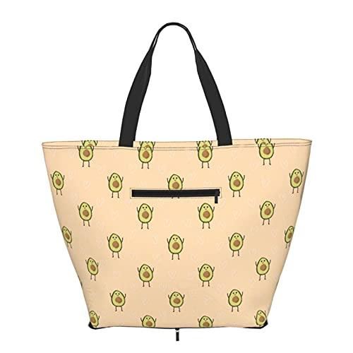 Bolsa de compras con patrón de aguacate de dibujos animados para mujeres adolescentes y niñas, bolsas de hombro de moda para viajes libros escolares