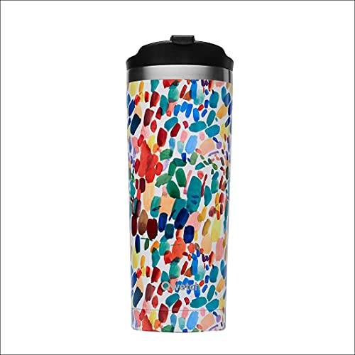 QWETCH Travel Mug INOX 470 ml Botella, Adultos Unisex, Collection Arty by Lou Ripoll (Multicolor), Talla Única