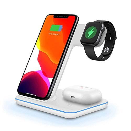 Vanities Soporte de Cargador inalámbrico 3 en 1 Qi Fast Carging Stand Pad Dock para iPhone 12 11 XS XR x 8 AirPods Pro, Estación de Cargador para IWATT 5 & More (Color : White)