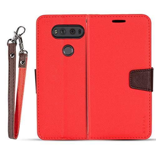 JEEXIA® Schutzhülle Für LG V20, Retro PU Lederhülle Flip Cover Brieftasche Innenschlitzen Mit Stand Doppelte Farbe Ledertasche - Rot