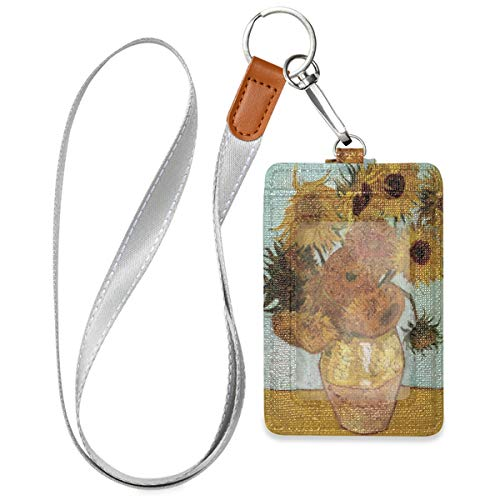 WELLDAY Badge Holders Van Gogh Sunflower Art PU Leather Belt Clip Clear ID Window Credit Card and Detachable Neck Lanyard