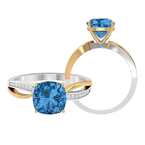 Anillo solitario de 2 tonos de zafiro azul ártico creado con acento moissanita, anillos de vástago dividido para mujeres (calidad AAAA), 14K Oro amarillo, Size:EU 60
