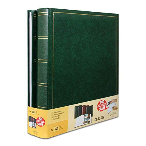 Lot de 2 albums photo traditionnels Jumbo 100 pages pour 500 photos 10x15 cm Vert