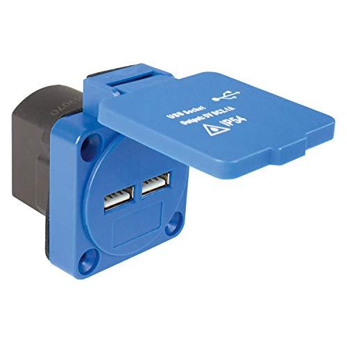 as - Schwabe Anbausteckdose Einbausteckdose mit 2X Steckdose Eingangsspannung 230V~ & USB Ports 5 V / 2,1 A – Zur Verwendung im Außenbereich & Innenbereich – Mit Deckel – IP54 – Blau I 45089