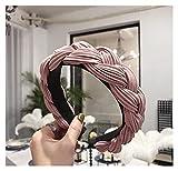 ZHEMAIE Cintas de Pelo Mujeres Hairband Cross Node Braid Diadema Adulto Otoño Invierno Headwear Lado Ancho Turbante Accesorios para el Cabello (Farbe : Pink Hairband)