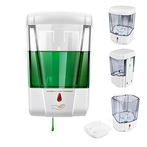 Blingbin Dispensador Jabon Pared, Dosificador Gel Hidroalcoholico de 700 Ml, Bomba de Loción de Jabón de Cocina Sin Contacto para Baño de Cocina, Dosis de 1 Ml (700ml)