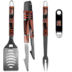 NFL Cincinnati Bengals Unisex 3 pc BBQ Set and Bottle Opener, Team Colors, One Size