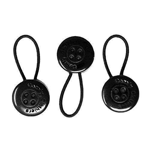 Comfy Deluxe Collar Extenders - Premium Elastic Dress Shirt Neck Extenders (Black Buttons) 3-Pack
