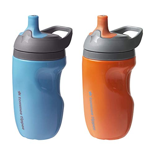 Tommee Tippee Insulated Sportee Toddler Water Bottle with Handle, Boy - 12M+, 2ct, Blue \& Orange