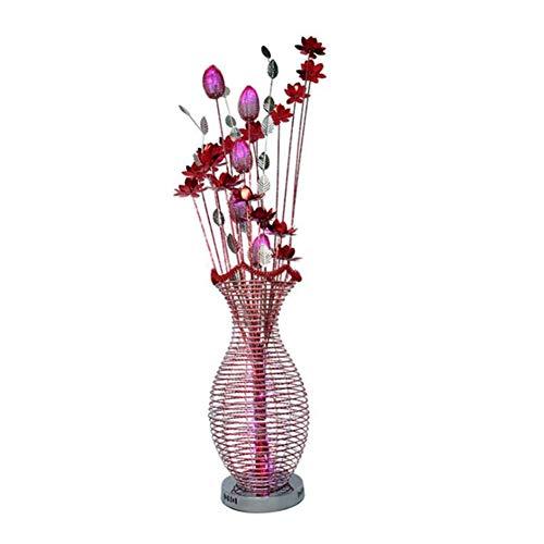 Dongbin Stehlampe Moderne Aluminium Drahtgeflecht Rot Silber Lotus Blume Vase Form DREI-Farbe Dimmen Led Stehlampe Wohnzimmer Schlafzimmer Büro Schöne Decor,Rosa