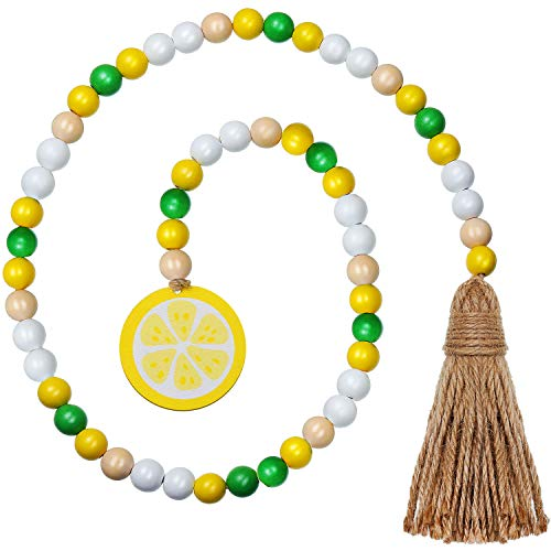 2 Pieces Lemon Wood Bead Garland with Tassels, Fireplace Hanging Decorations Rustic Country Wood Beads Colorful Beads Ornaments for Christmas Party, Home Decoration