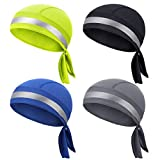 4 Pieces Do Rags Skull Cap Sweat Wicking Beanie Cap Quick Drying Head Wraps Neon Reflection Wicking Dew Rag Biker Beanie Cap Cooling Good Visibility Helmet Liner Bandana for Men and Women