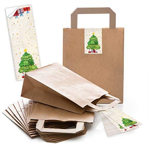 10 braune Kraftpapier Papiertüte Geschenktasche Henkel mit Boden 18 x 8 x 22 cm + 10 weihnachtliche Aufkleber BAUM rot beige grün Geschenkverpackung Weihnachten bio natur