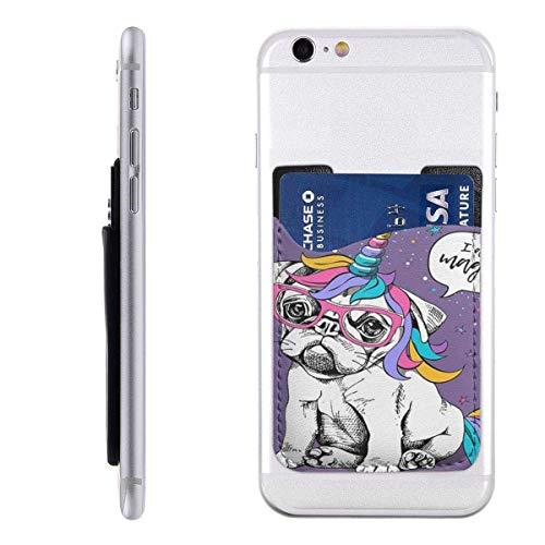 Inner-shop Mobile Card WalletPocket ID Credit Card SleeveDog Puppy Bulldog in een heldere gekleurde kostuum van een eenhoorn en ik ben zo Magisch C