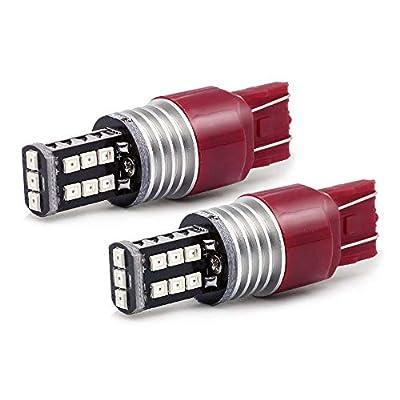 Syneticusa Red Flashing Strobe Blinking Rear Alert Safety Brake Tail Stop High Power LED Light Bulbs (7443)