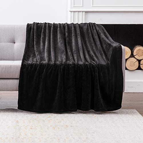 MIULEE Kuscheldecke Samt Decke Einfarbig Wohndecken Couchdecke Flauschig Überwurf Mikrofaser Tagesdecke Sofadecke Blanket Für Bett Sofa Schlafzimmer Büro 150x200 cm Schwarz