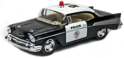 12 pcs in Box  5 1957 Chevy Bel Air Police 1 40 Scale (schwarz Weiß) by Kinsmart