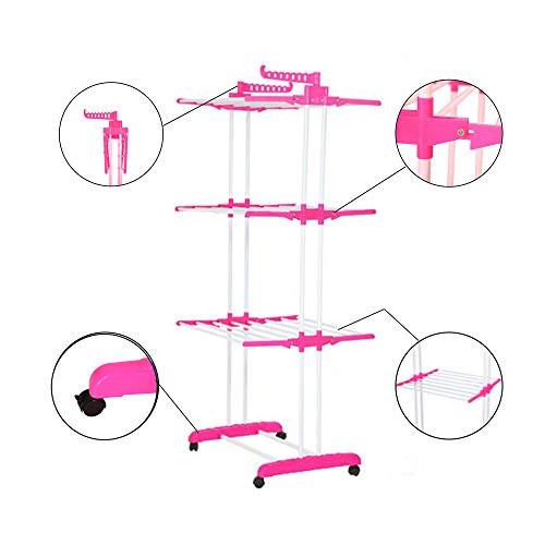 Alaskaprint Mobiler Wäscheständer Turmwäschetrockner Kleiderständer mit 4 drehbar Rollen und 3 Ablagen stabiler Trockenständer Edelstahl Wäscheturm Klappbar mit 2 Flügel ausziehbar in Pink