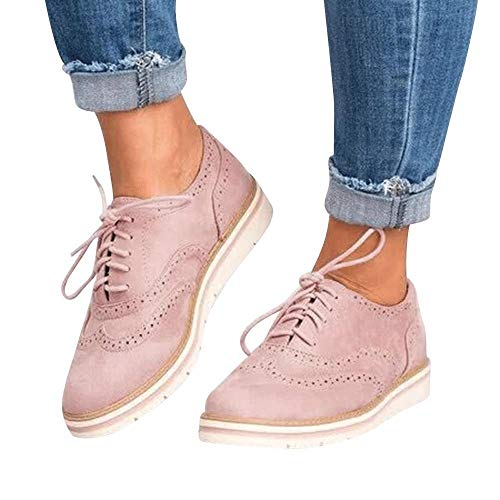 Sports Shoes Women,Hot! Oliviavan Women's Round Toe Solid Color Ankle Flat Suede Casual Lace Up Shoes Pink