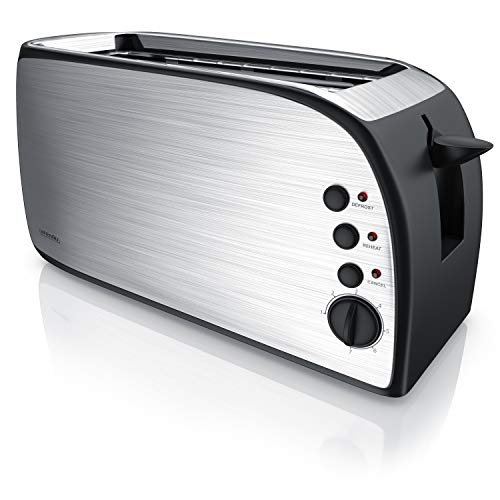 Arendo - Toaster 4 Slice - Automatic 4 Sliced Toaster - 7 Levels of Gilding - 1200W-1500W - Silver Black
