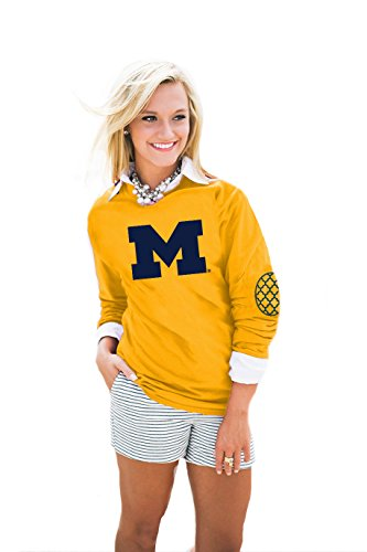 Gameday Couture NCAA Michigan Wolverines Womens Puff Print Elbow Patch Long Sleeve Alternate, XX-Large, Gold