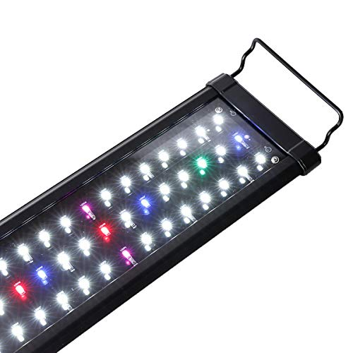 SHUPAT Full Spectrum Aquarium Light, with Aluminum Alloy Shell Extendable Brackets Fish Tank Light,...
