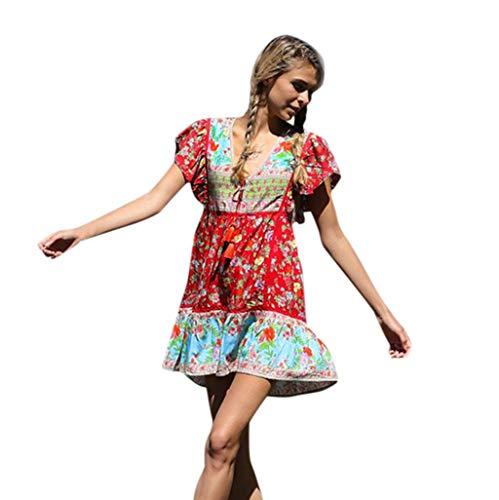 Really Miss. Vestido Estampado Plisado con diseño Festivo de Bohemian Beach Holiday(R-Rojo,XL)