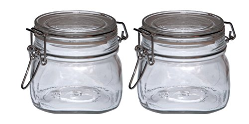 2er Set 0,5L Original Fido Einmachglas mit Bügelverschluss und Gummiring
