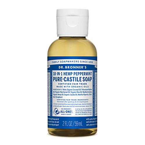 Dr. Bronner's - Pure-Castile Liquid Soap (Peppermint, Travel Size, 2 ounce) - Made with Organic Oils, 18-in-1 Uses: Face, Body, Hair, Laundry, Pets and Dishes, Concentrated, Vegan, Non-GMO