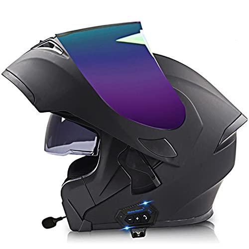Lmoto-helmet Modular Casco Moto Bluetooth ECE Homologado Casco de Moto Integral para Mujer Hombre Adultos con Anti Niebla Doble Visera Casco Integrado con 500mA Auriculares Bluetooth