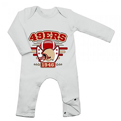 Shirt Happenz 49ers Babybody | 1946 | Super Bowl | American Football | Langarm | Langärmliger Strampler, Farbe:Weiß (White BZ13);Größe:3-6 Monate