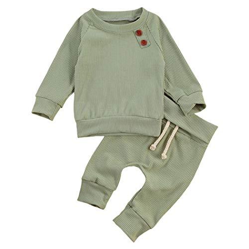 Geagodelia Babykleidung Set Baby Jungen Mädchen Kleidung Outfit Langarm T-Shirt Top + Hose Neugeborene Weiche Einfarbige Babyset T-8718 (Grün, 12-18 Monate)