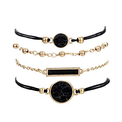 Beaded Bracelets for Women - Adjustable Charm Pendent Stack Bracelets For Women Girl Friendship Gift Rose Quartz Bracelet Links with Pearl Golds Plated 5pcs/Set (Cross & Shell)