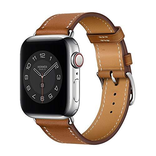 Hspcam Correa de cuero real de negocios para Apple Watch Band 6 SE 5 4 42MM 38MM 44MM 40MM 40MM Correa para iWatch 3 2 1 (38mm, marrón)