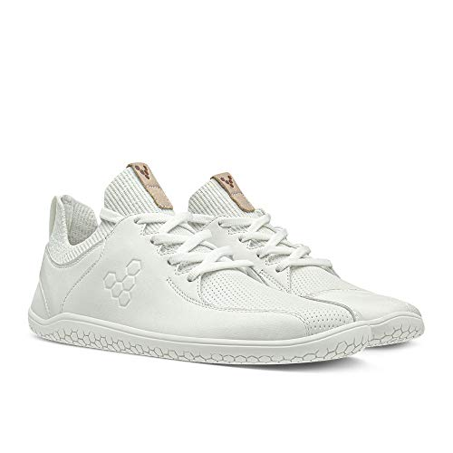 Vivobarefoot Womens Primus Knit Lux Leather Textile White Trainers 10 US