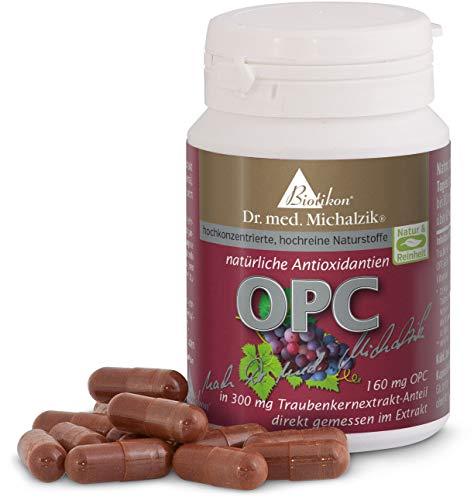 OPC nach Dr. med. Michalzik - Extrakt aus Vitis vinifera mit 160 mg reinem OPC und 50 mg Vitamin C je Kapsel - natürliche Antioxidantien - 72 rein pflanzliche Kapseln - ohne Zusatzstoffe - von BIOTIKON®
