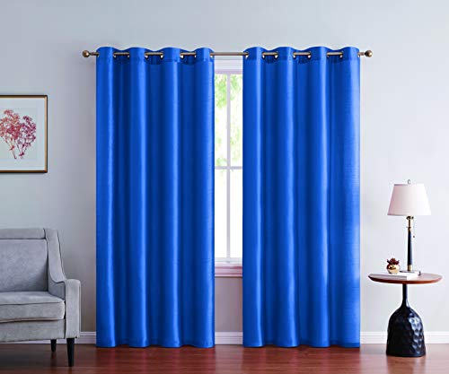2pc Faux Silk Solid Curtain Panel Window Treatment Living Room Curtains for Any Room in Bedroom Grommet Hemmed 52 Inches Wide Semi Sheer( Royal Blue,52 X 63 Inches )
