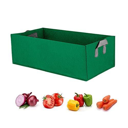 Rettangolo Grow Bag,La piantatrice dell'orto coltiva le borse,Contenitore per piante quadrato con manico per vaso da giardino da esterno (verde, 39,37 / 23,62 / 7,87 pollici)