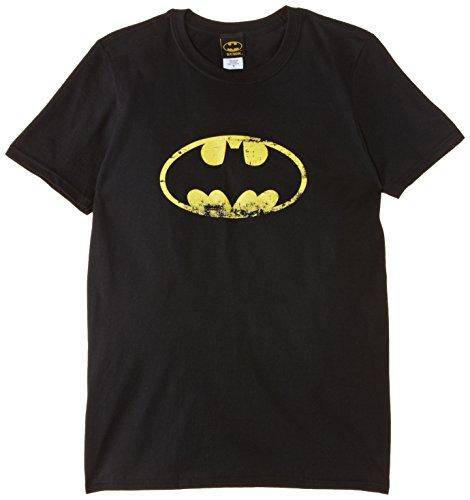 DC Comics - T-shirt Homme BATMAN - DISTRESSED LOGO - Noir (Black) - Large