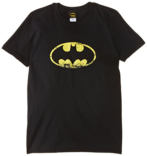 DC Comics - T-shirt Homme BATMAN - DISTRESSED LOGO - Noir (Black) - Large